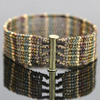 Tapestry Herringbone Bracelet Kit - Bronze & Green
