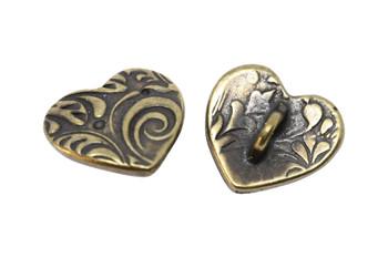 Amor Heart Button - Antique Brass
