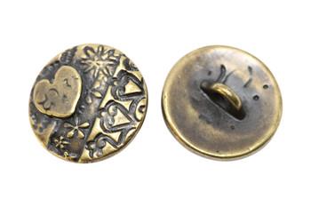 Amor Round Button - Antique Brass