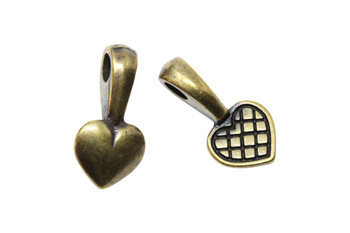 Heart Glue-on Pad - Antique Brass
