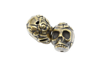 Rose Skull Bead - Antique Brass