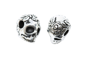 Skull Large Hole Bead - Silver Plated