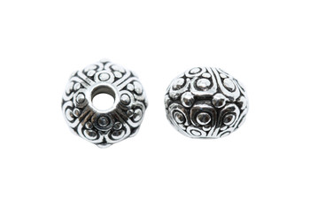 Oasis 10mm Large Hole Bead - Silver Plated