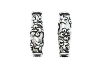 Wild Rose Barrel Bead - Silver Plated