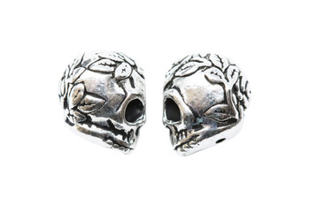 Rose Skull Bead - Silver Plated