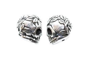 Rose Skull Bead - Silver Plated