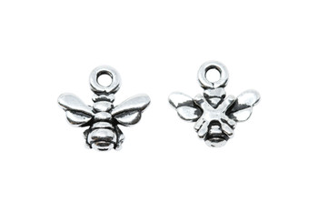Small Honeybee Charm - Silver Plated