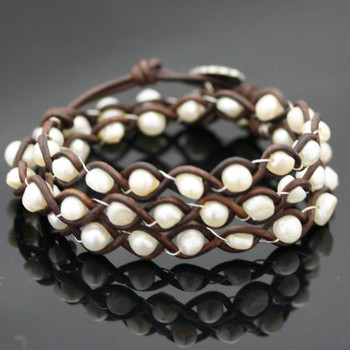 Beaded Leather Braided Bracelet Kit: Brown and White