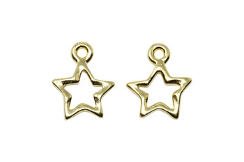 Open Star Charm - Gold Plated