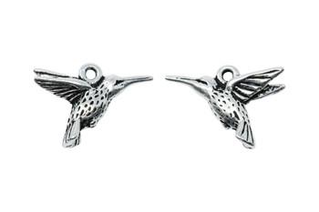 Hummingbird Charm - Silver Plated