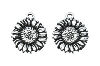 Sunflower Charm - Silver Plated