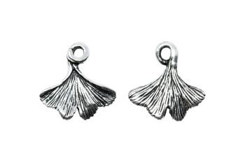 Ginkgo Leaf Charm - Silver Plated