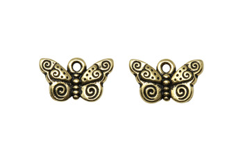 Spiral Butterfly Charm - Gold Plated