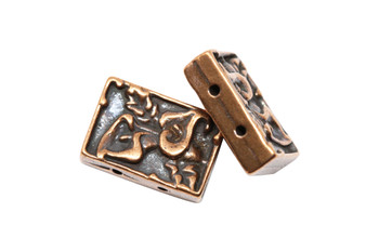 Calla Two Hole Bead - Copper Plated
