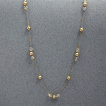 Swarovski Knotted Station Necklace - Gold