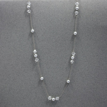 Swarovski Knotted Station Necklace - Silver