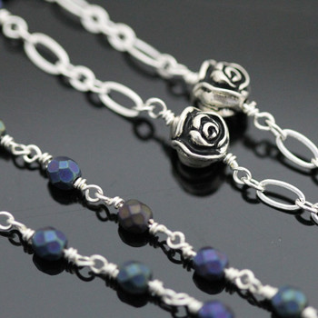 Wire Wrapped Rosary Kit - Silver & Navy