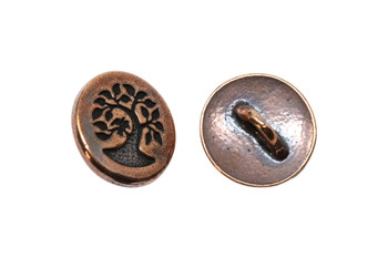 Small Bird in a Tree Button - Copper Plated
