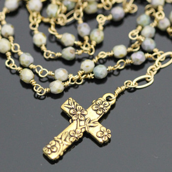 Wire Wrapped Rosary Kit - Gold & Gray