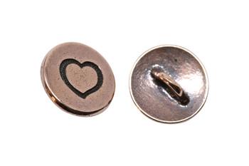 Small Heart Button - Copper Plated