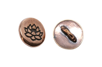 Small Lotus Button - Copper Plated