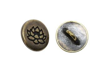 Small Lotus Button - Brass Plated