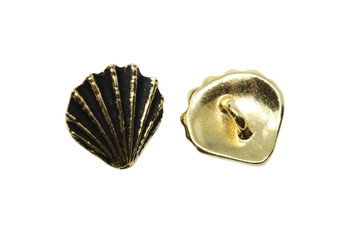 Scallop Shell Button - Gold Plated