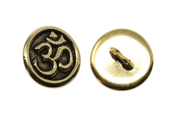 Om Button - Gold Plated