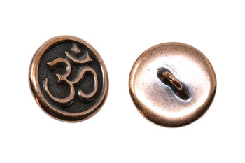 Om Button - Copper Plated
