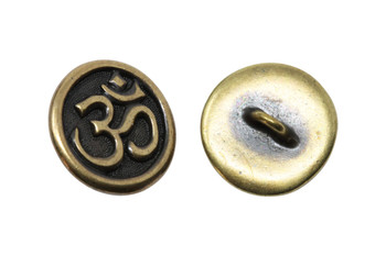 Om Button - Brass Plated