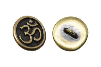 Om Button - Brass Plated