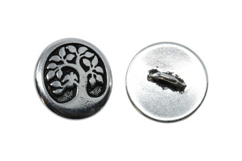 Bird in a Tree Button - Silver Plated
