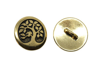 Bird in a Tree Button - Gold Plated