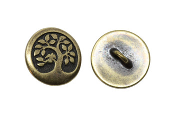 Bird in a Tree Button - Brass Plated