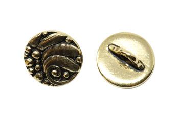 Czech Round Button - Gold Plated
