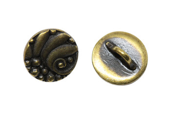 Czech Round Button - Brass Plated