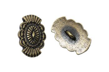 Western Button  - Brass Plated