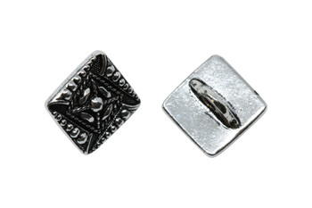 Czech Square Button - Silver Plated