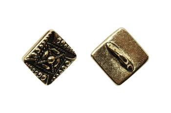 Czech Square Button - Gold Plated