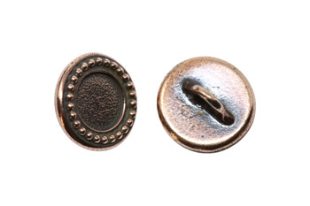 Beaded Bezel Button - Copper Plated