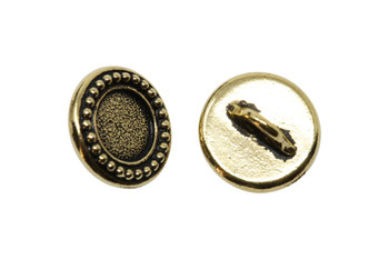 Beaded Bezel Button - Gold Plated