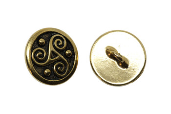 Triskele Button - Gold Plated