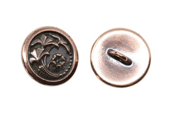 Czech Flower Button - Copper Plated