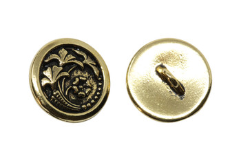 Czech Flower Button - Gold Plated