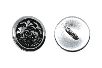 Czech Flower Button - Silver Plated