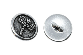 Dragonfly Button - Silver Plated