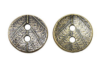 Round Leaf Button - Antique Brass