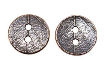 Round Leaf Button - Copper Plated