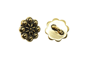 Rosette Button - Gold Plated