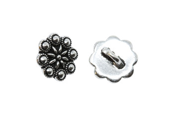 Rosette Button - Silver Plated